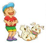 laughing boy and dog cartoon